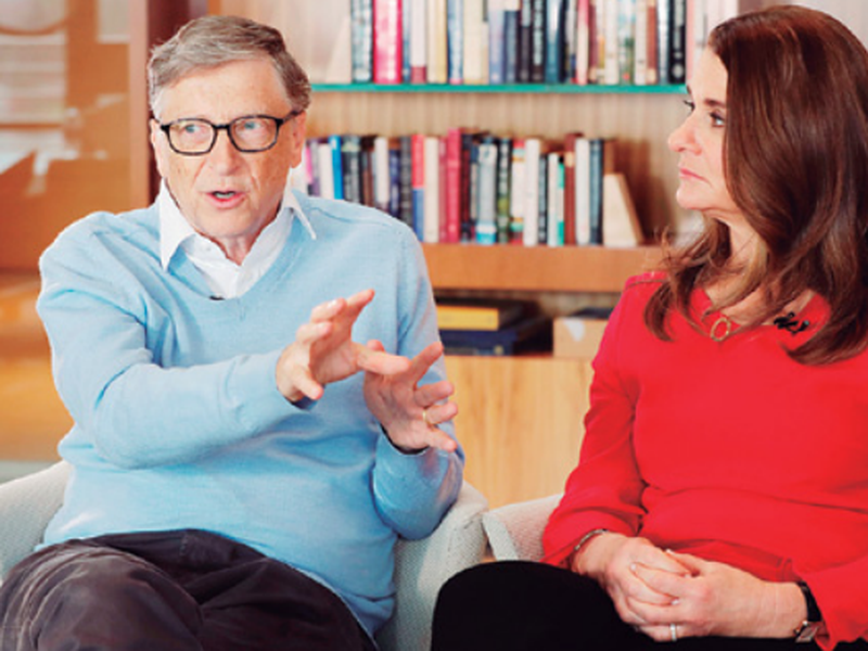 Microsoft cofounder Bill Gates and his wife Melinda take part in an AP interview in Kirkland, Wash. (AP)
