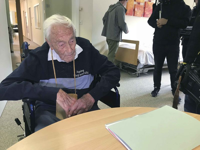 Picture shows 104-year-old Australian David Goodall in a room in Liestal near Basel, Switzerland, where to end his life.