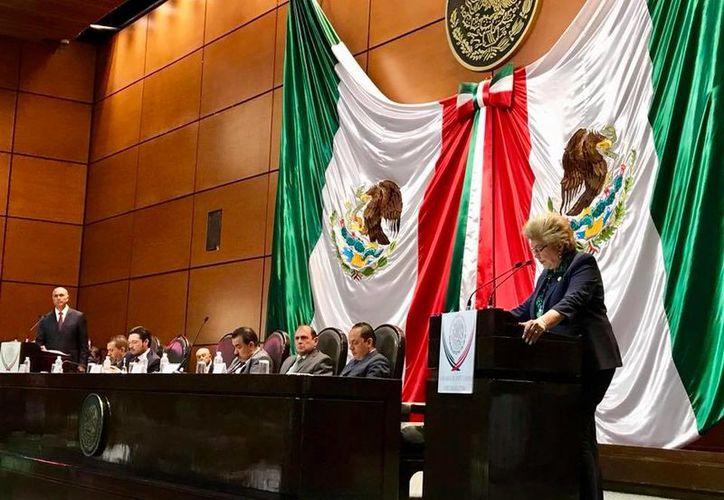 La diputada Lucely Alpizar durante la comparecencia del titular de la Sagarpa, José Calzada Rovirosa. (Foto: Cortesía)