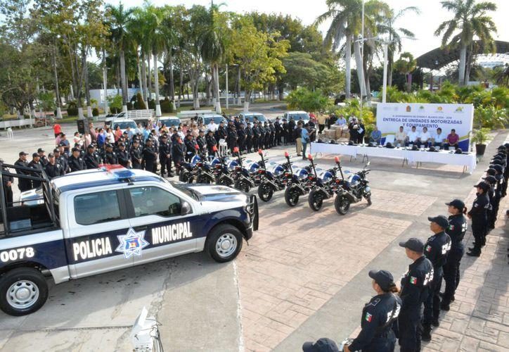 La Policía Municipal Preventiva recibió ocho motopatrullas. (Foto: Redacción)