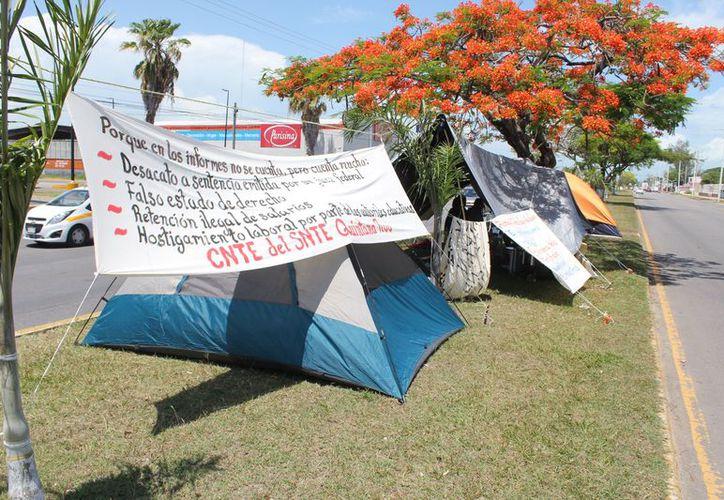 Maestros cesados mantienen plantón frente a las oficinas de la Secretaría de Educación de Quintana Roo. (Joel Zamora/SIPSE)