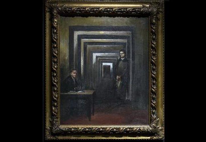 Hitler retrató a dos personas con semblante enfadado en medio de un largo pasillo oscuro. (Milenio).
