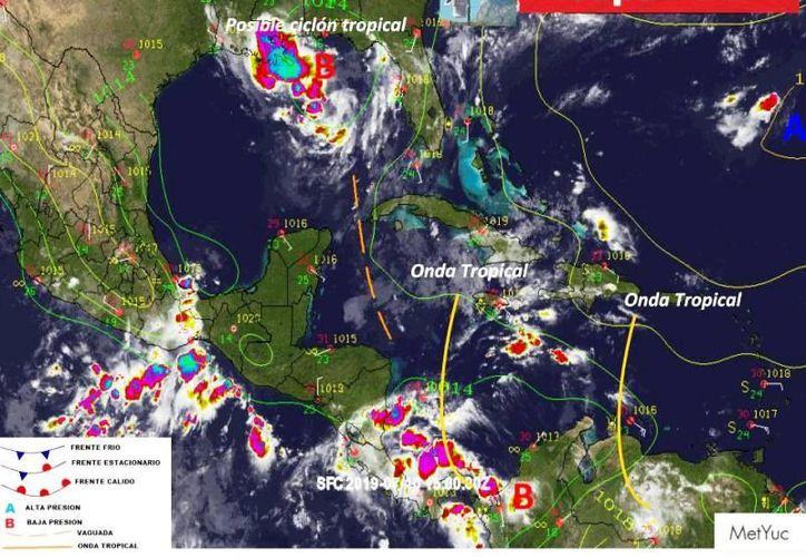 La depresión tropical Barry se localiza sobre el noreste del Golfo de México. (Foto: Meteorología Yucatán)