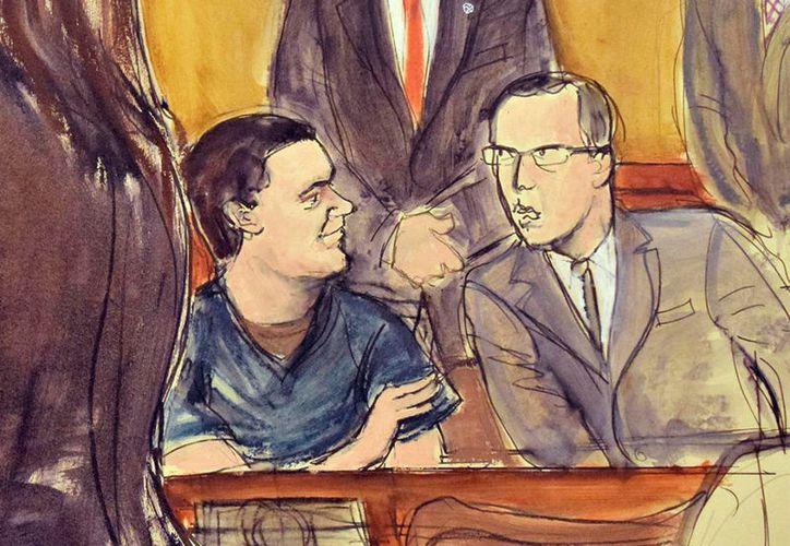 El Chapo, en un dibujo de la Corte, acompañado de su abogado. (AP)