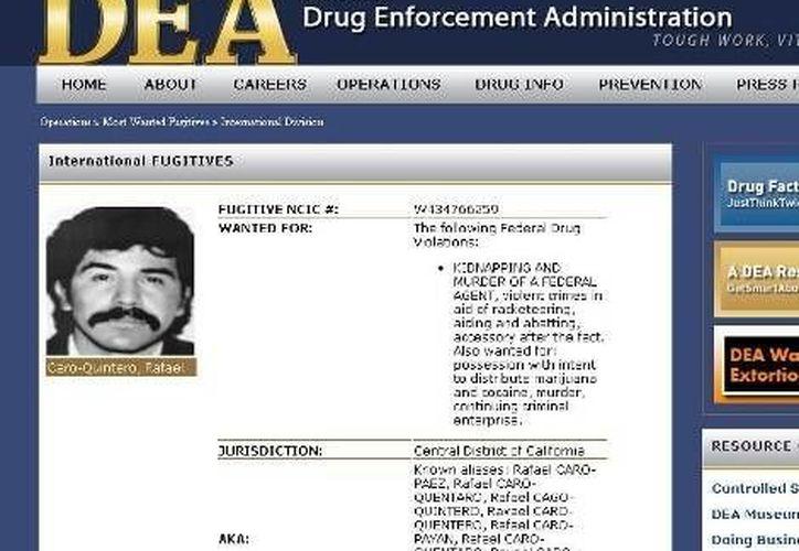 Página de la DEA en la que aparece información sobre el narcotraficante Rafael Caro Quintero. (Milenio)