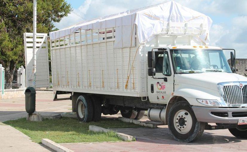 La construcción del Palacio Municipal también moviliza camiones de carga pesada para el transporte de tablas y otros aditamentos e insumos, sin que nadie haga algo al respecto. (Juan Carlos Gómez/SIPSE)
