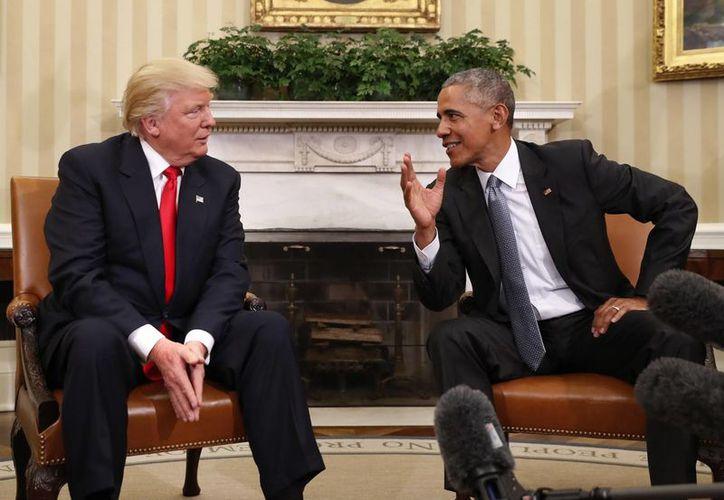Durante sus declaraciones, Trump dijo que Obama le gusta como presidente. (Archivo/AP)