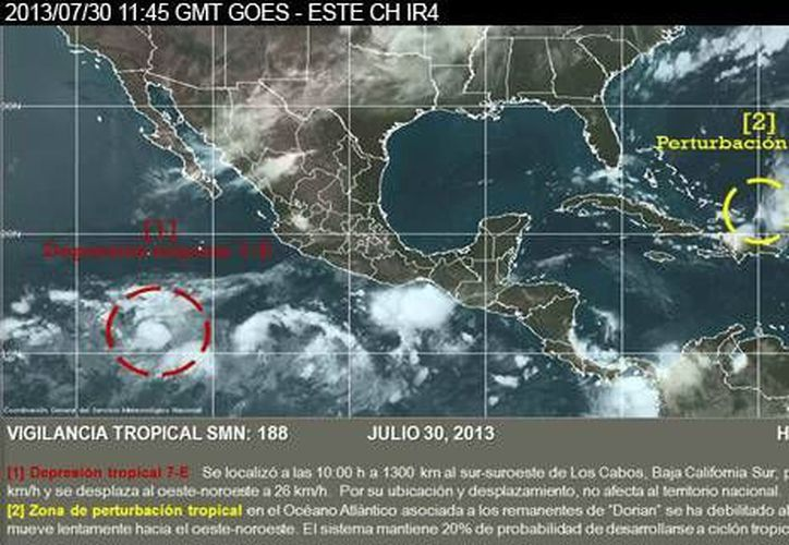Aunque la nueva depresión tropical se aleja de las costas mexicanas, en las próximas horas podría fortalecerse. (cna.gob.mx)