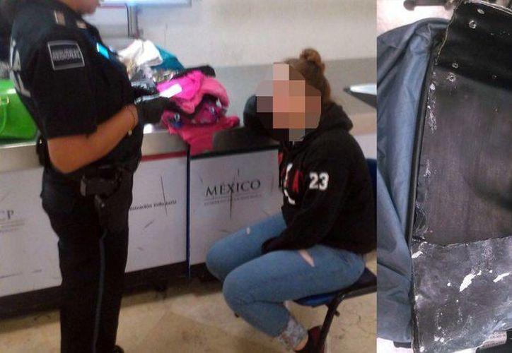La droga estaba oculta en una maleta de doble fondo. (Redacción/SIPSE)