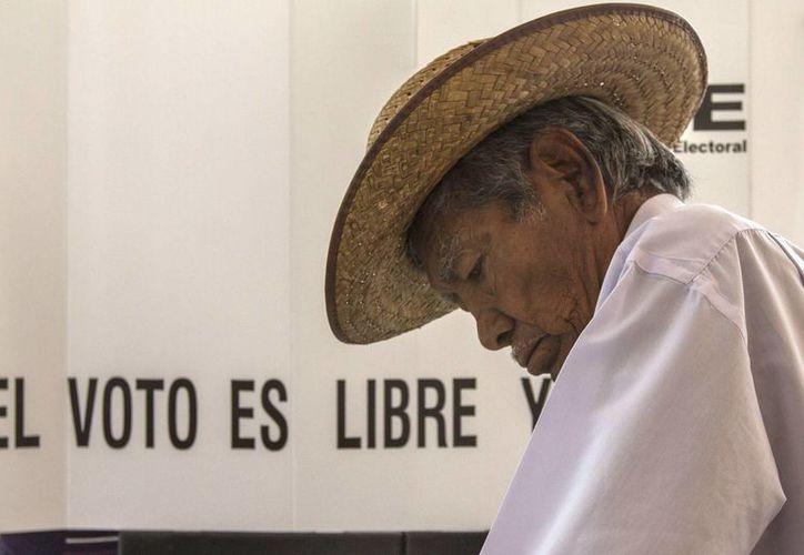 El PRI tiene en los adultos mayores un nicho importante de votantes, según la encuesta de Parametría. Imagen de un anciano votando en las pasadas elecciones. (Archivo/Notimex)