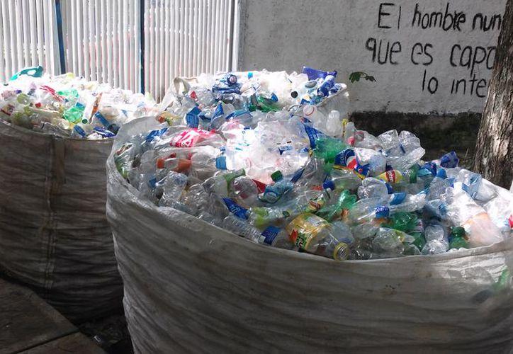 Los plásticos son vendidos y los recursos son utilizados para apoyar a los familiares de enfermos con cáncer. (Javier Ortiz/SIPSE)