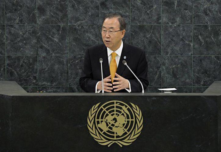 Ban Ki-moon durante su participación en la Asamblea General de la ONU. (Agencias)