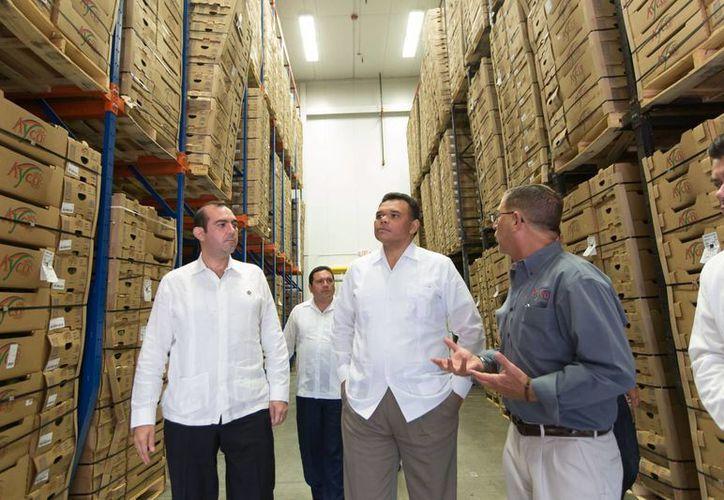 El gobernador de Yucatán, Rolando Zapata Bello, durante su visita a Ayco Farms. (SIPSE)