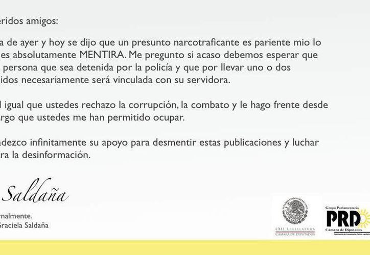 Este fue el comunicado que a través de Twitter publicó. (Twitter: @GracielaSaldana)