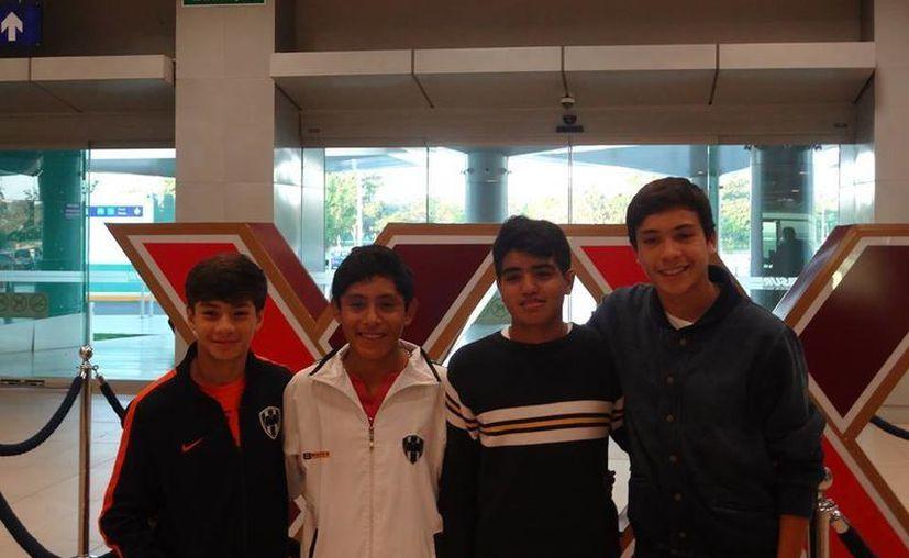 Estos son los cuatro yucatecos que no sólo forman parte de las Fuerzas Básicas del Monterrey, sino que competirán a nivel nacional con Rayados Sub-13. (Milenio Novedades)