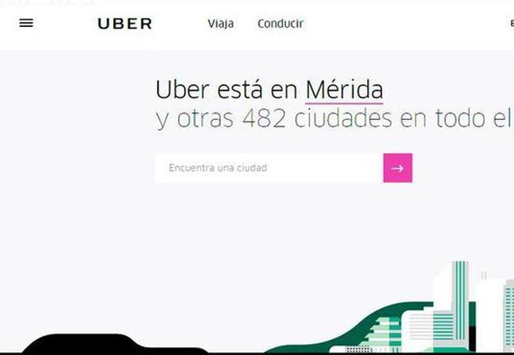 Captura de pantalla del sitio web de Uber, empresa de servicios de transportación de personas, que este viernes realizará varias promociones, entre las que se encuentran paletas gratis. (SIPSE)