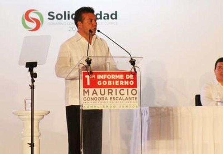 Ayer el presidente municipal de Solidaridad rindió su Primer Informe de Gobierno.  (María Mauricio/SIPSE)