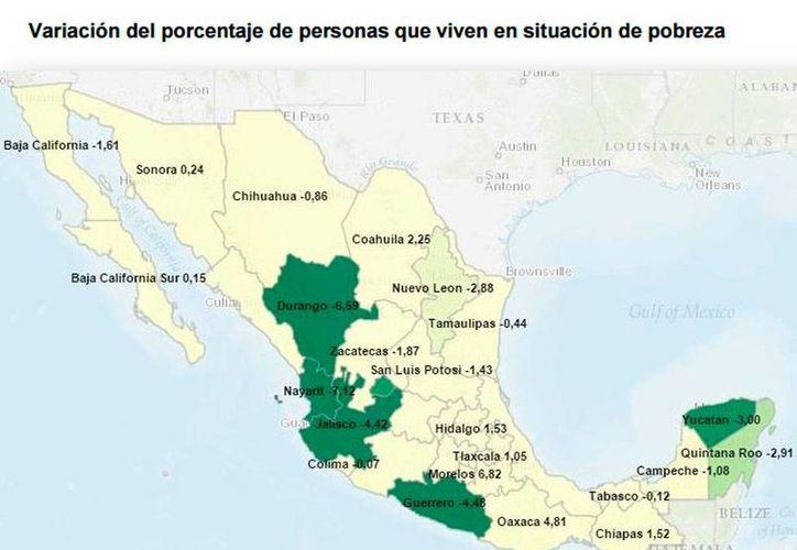 Mapa que muestra el índice de disminución de la cifra de pobres en los estados del país, incluido Yucatán. (Cortesía)