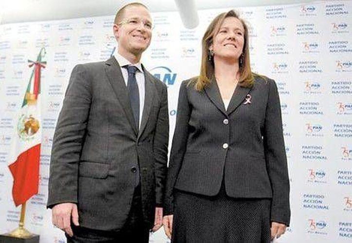 Imagen del presidente nacional del PAN Ricardo Anaya y la exprimera dama Margarita Zavala. (Javier García/Milenio)