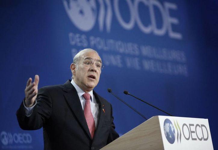 El secretario general de la OCDE, el mexicano José Ángel Gurría, durante el discurso de inauguración en el 23 Foro anual del organismo. (Notimex)