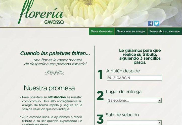 Gayosso ofrece el servicio de Florería Virtual para quienes no puedan asistir a los funerales. (Captura de pantalla)