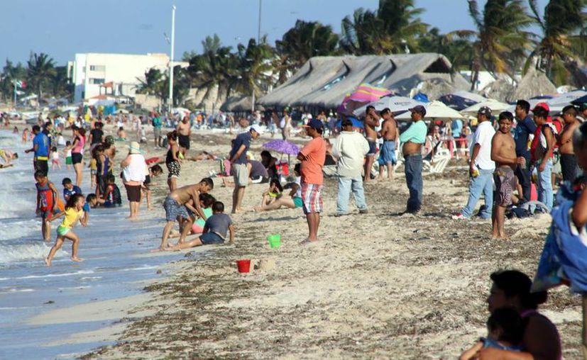 Numerosos paseantes disfrutaron de las playas de Progreso, en este fin de semana. (Milenio Novedades)