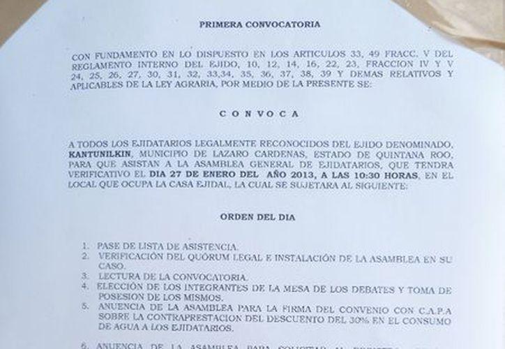 Emite directiva ejidal la convocatoria para la asamblea. (Raúl Balam/SIPSE)