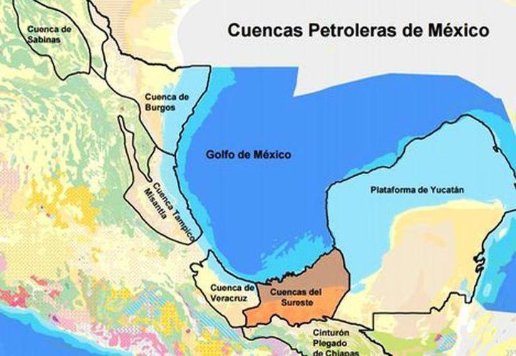 Mapa de las cuencas petroleras existentes en México. (CNH)