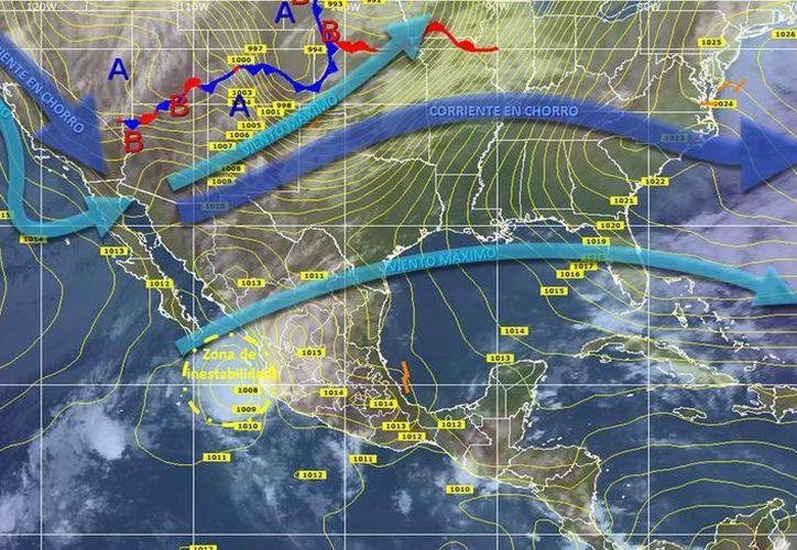 La baja presión no tropical que se desarrolla en el Océano Atlántico, presenta una probabilidad del 10 por ciento de evolucionar en un sistema tropical. (Archivo/SIPSE)