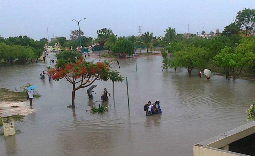 Los alumnos sufren para poder llegar a sus escuelas ante las condiciones del clima. (Foto de Contexto/SIPSE)