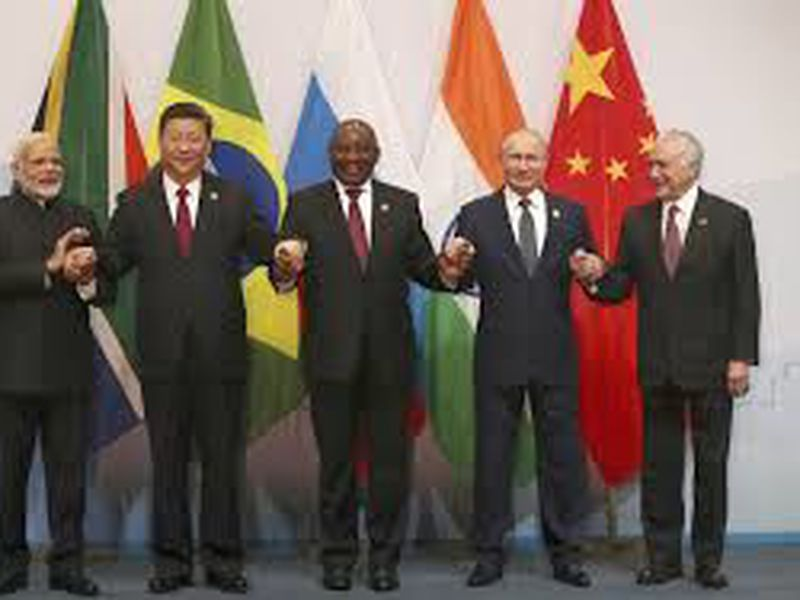 Members of the major emerging national economies group BRICS, in Johannesburg, South Africa