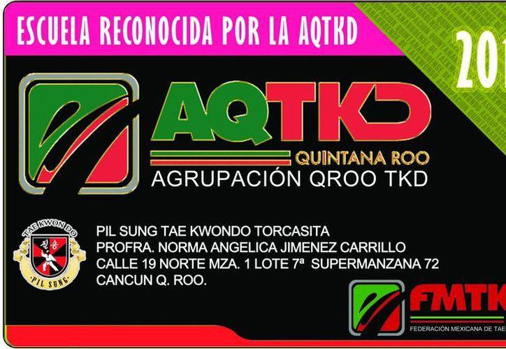 Placa de la asociación de tae kwon do de Quintana Roo. (Raúl Caballero/SIPSE)
