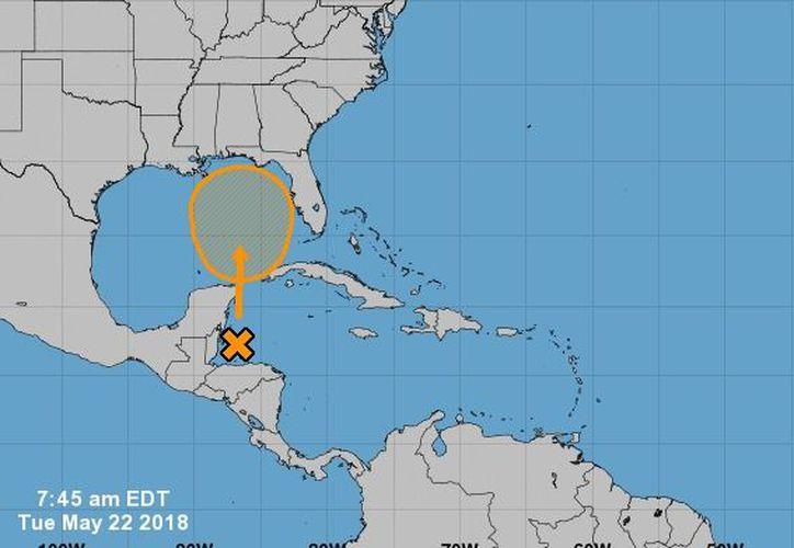 La vaguada podría pasar por la costa de Quintana Roo y Yucatán, el próximo jueves. (NOAA)