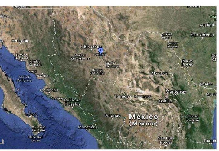 Uno de los temblores se ubicó a 54 kilómetros al suroeste de Delicias, Chihuahua (al centro de la gráfica). (Googlemaps)