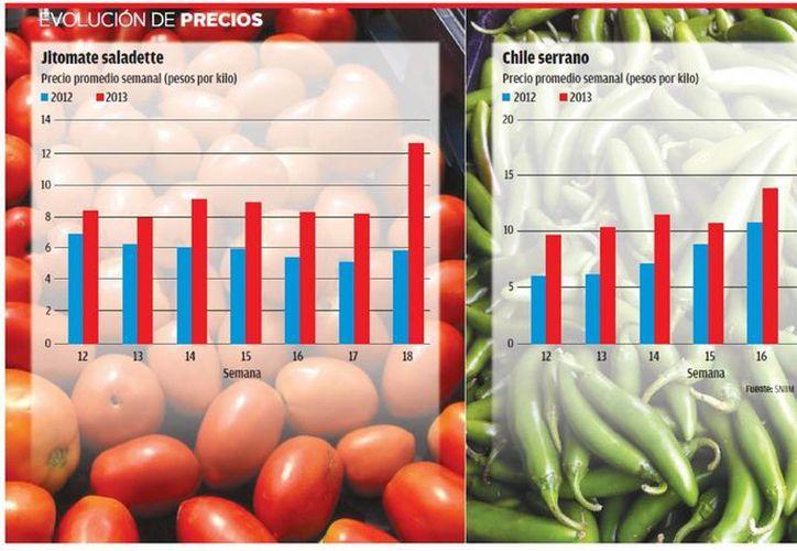 Productos como jitomate, papa, calabacita italiana, chiles, tomate verde, melon, sandía y aguacate hass, entre otros han subido de precio. (Milenio)