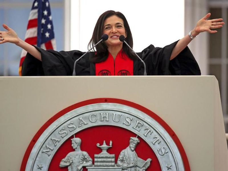 Sheryl Sandberg speaks during the MIT's 2018 Commencement exercises, Friday, June 8, 2018 in Cambridge, Mass. (AP)