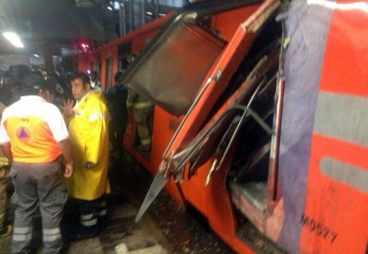 Imagen del choque de dos trenes del Metro de la Ciudad de México en la estación Oceanía de la Línea 5. (Archivo/Notimex)