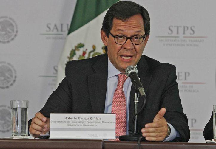 El subsecretario de prevención y participación ciudadana de la Secretaría de Gobernación, Roberto Campa, dijo que las Secretarías de Educación y Salud tienen responsabilidad en el combate a la delincuencia. (Notimex)