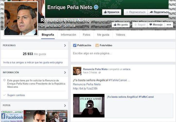 En las redes sociales, como Facebook, se han creado grupos donde se pide al renuncia del presidente Enrique Peña Nieto. (facebook.com)