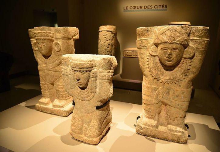 """Parte de la muestra """"Mayas, revelaciones de un tiempo sin fin"""", presentada en París, Francia, en octubre de 2014, y que ahora se exhibe un Inglaterra. (Archivo/Notimex)"""