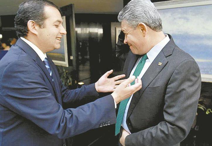 El panista Ernesto Cordero (izquierda) confirmó que comió con el expresidente Felipe Calderón. (Milenio)