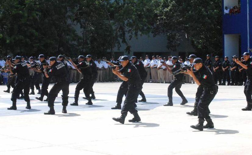 Los nuevos elementos son graduados de la Academia de Policía. (Eric Galindo/SIPSE)