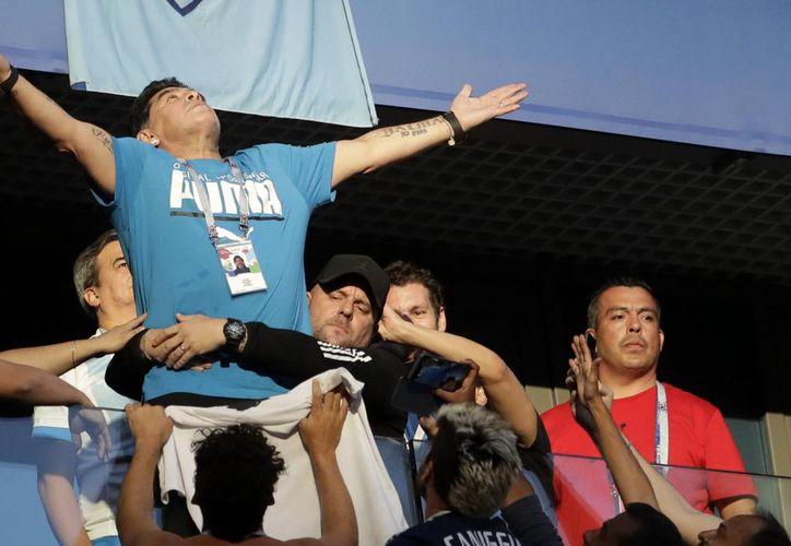 La FIFA le dijo a Maradona que debido a que hizo señas obcenas en un estadio, ya no le pagarán por asistir al Mundial, pero si no mejora su actitud las consecuencias serán más graves (Foto AP)