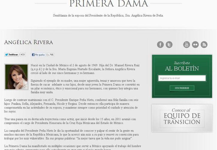 Captura de pantalla de la página de la Presidencia, donde aparece la breve semblanza de la Primera Dama.