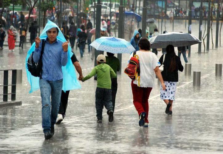 Para las próximas horas el SMN preve lluvias muy fuertes y granizo en el litoral del Golfo de México, sureste y oriente del país, así como la Península de Yucatán y lluvias torrenciales en Chiapas. (Notimex/Foto de contexto)