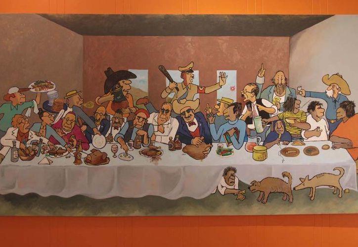 """En la muestra está una parodia de 'La última cena' titulada """"El último desayuno"""", con personajes de las revistas que catapultaron a Rius. (Notimex)"""
