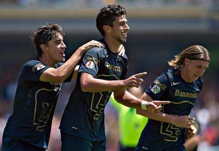 Eduardo Herrera, de Pumas de la UNAM, festeja su gol ante Xolos de Tijuana. (mexsports.com)