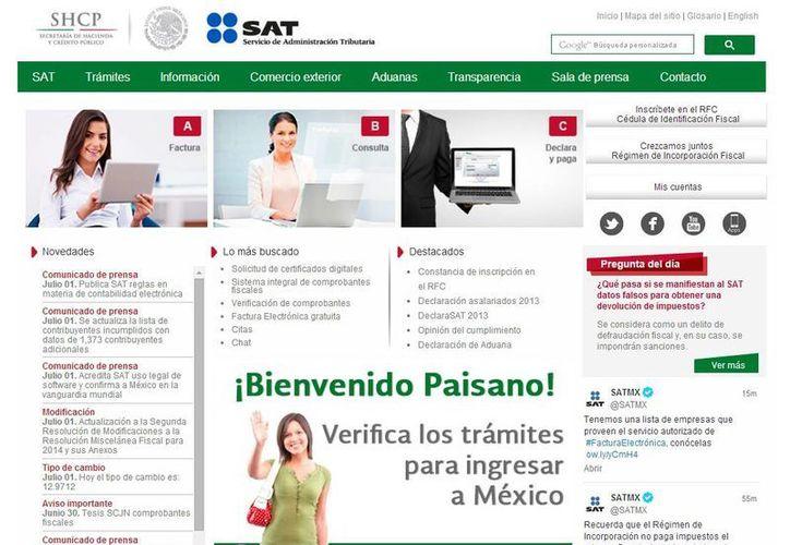 El SAT recuerda que el contribuyente puede realizar por Internet diversos trámites en su dirección www.sat.gob.mx. (Milenio Novedades)