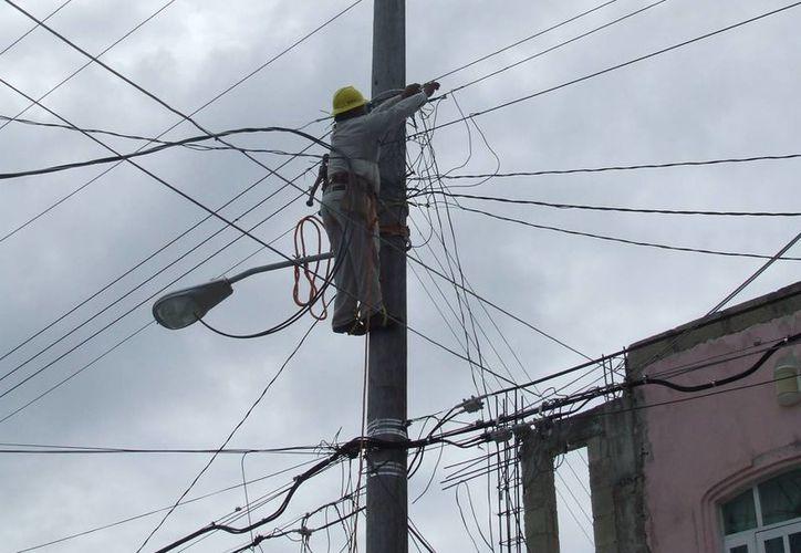 Personal de la Comisión Federal de Electricidad realizó las labores pertinentes para restablecer el suministro del servicio en Tulum. (Rossy López/SIPSE)