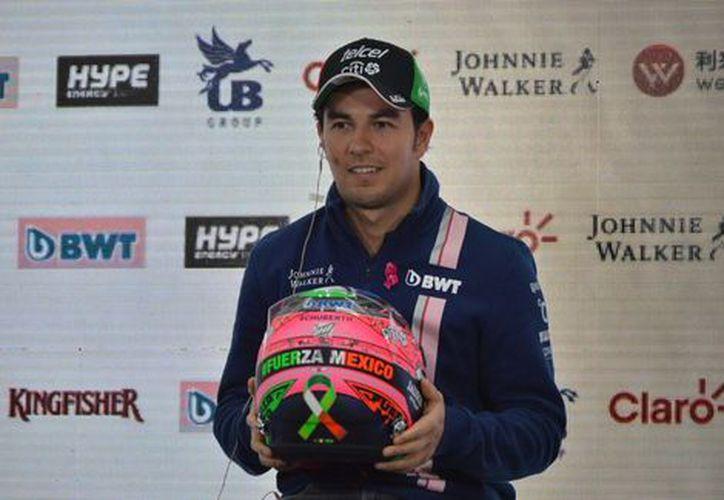 """Sergio Pérez usará un casco especial con la leyenda """"Fuerza México"""". (Michel Cruz)."""